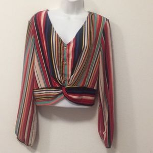 Long sleeve multi colored top-Size L